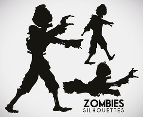 Three Terrifying Zombie Silhouettes, Vector Illustration