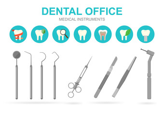 Dentist equipment isolated on white background, vector illustration.