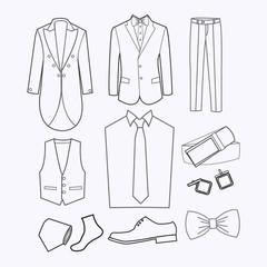 set of Fashion collection of man wardrobe.