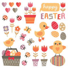Set of cute, colorful design elements for spring and easter isolated on white, with chickens, duckling, easter eggs, tulips, flowers, basket of easter eggs, butterflies, ladybugs and text greeting.