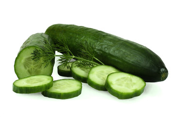 Wall Mural - Cucumber and slices isolated over white background.
