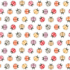 Cute seamless Spring pattern with colorful ladybugs on white background. Nature pattern for kids, textiles, gift wrapping paper, wallpapers.