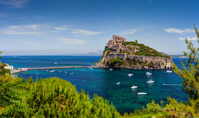 Aragon castle. Hieron I of Syracuse built the fortress in 474 B.C. In 1441 Alfonso of Aragon, rebuilt the old Castle, linking to the main island by the stone bridge. Ischia island, Italy.