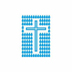 Logo church. Christian symbols. A drop of water alive.