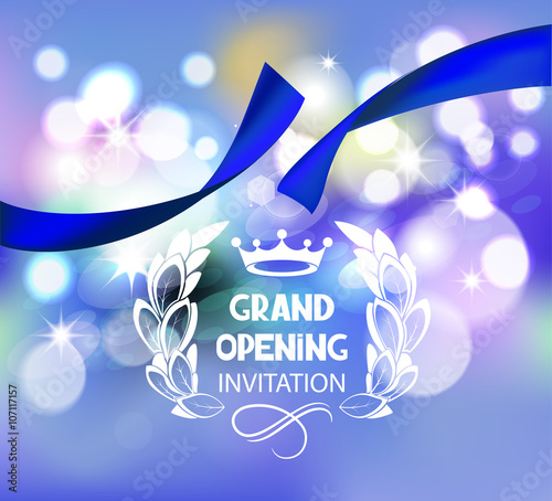 Grand Opening Invitation Card With Blue Ribbon And Bokeh