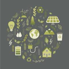 Alternative Energy Sources. Ecology. Vector illustration