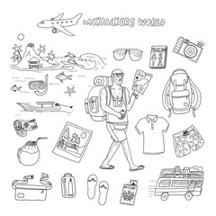 Backpackers world. Travel. Doodle set in vector isolated on a white background.