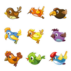 Funny birds icons. Cartoon birds vector set for game ui with birds