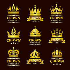 Luxury crown logo and crown monogram set. Gold crowns with text vector