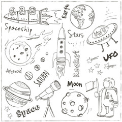 Space hand drawn doodles. Stars, planet and space transportation