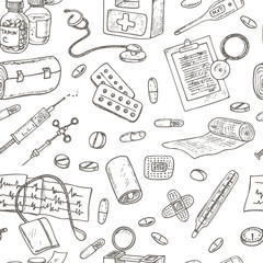 Health care and medicine seamless pattern.