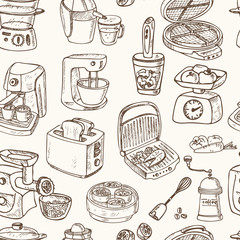 Home appliances themed doodle Seamless Pattern.