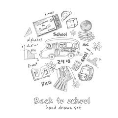 Set of school drawings. Sketches. Hand-drawing. Vector illustrat