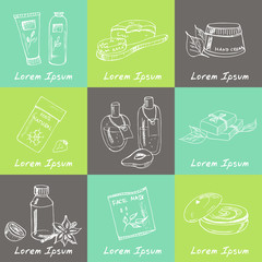 Spa beauty and care vector hand drawn elements.