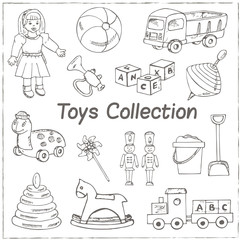 Collection of doodles toys. Vector illustration of toys for design