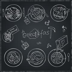 Vector hand drawn breakfast set. Vintage illustration