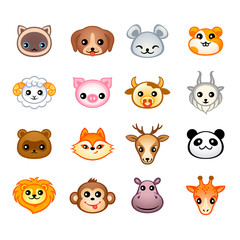 Kawaii animal head icons