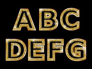 Golden shiny letters A, B, C, D, E, F, G