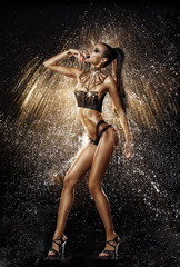 Sexy model in water splash
