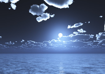 A view of night blue sky with clouds and full moon reflected on water - 3D-Illustration