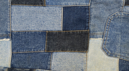 Jeans patchwork  background , denim patchwork .
