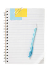 open notebook with ball pen and note