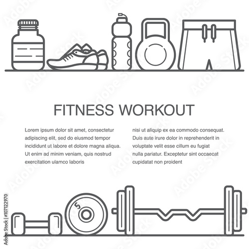Quot flat concept of gym banner or fitness advertisement