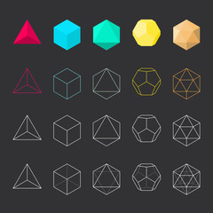 Platonic solids, vector illustration, line design