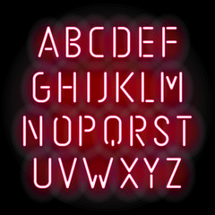 Pink neon font, vector illustration