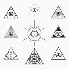 All seeing eye symbol, vector set