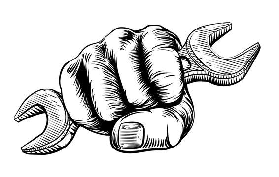 Spanner Woodcut Fist Hand