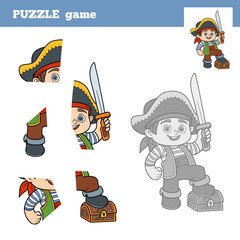 Puzzle Game for children, pirate boy and chest of treasure