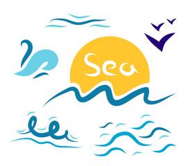 Set the wave sea gulls