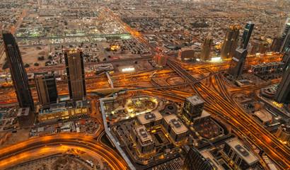 Fototapete - Aerial vief of Sheikh Zayed Road  in Dubai