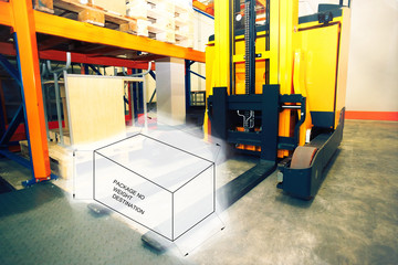 Drawing of package box combined with picture of forklift at ware