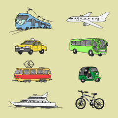 Passenger transport . Doodle set. Isolated.