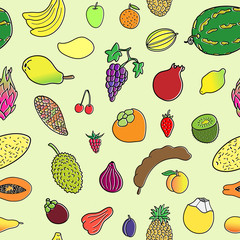 Seamless pattern with hand drawn  fruits. Doodles