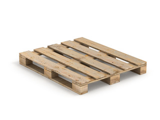 Wooden pallet. Isolated on white