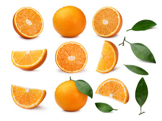 Set of whole and sliced oranges with leaves Wall mural