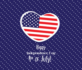 happy 4th of July with heart greeting