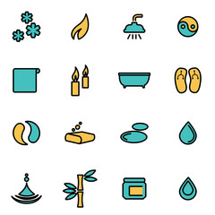 Trendy flat line icon pack for designers and developers. Vector line spa icon set, spa icon object, spa icon picture, spa image - stock vector