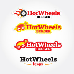 Hot wheels cafe logo template. Fast food, express cafe logo template. Food theme logotype vector template. Isolated vector illustration.