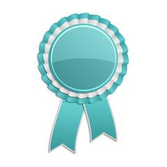 Cyan award rosette with ribbon