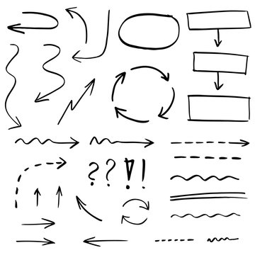 Collection of hand drawn arrows, lines and shapes
