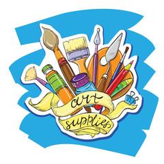 hand drawn sketch illustrationt art supplies