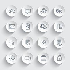 business, finance, commerce, enterprise line icons on round 3d shapes, business pictograms, vector illustration