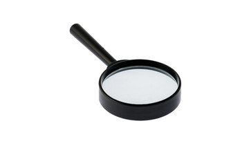 Magnifying glass closeup isolated on white background