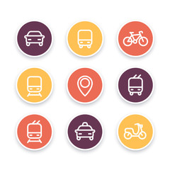 City and public transport icons, public transportation vector icons, bus, subway, taxi, public transport pictograms, round thick line icons, vector illustration