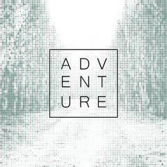 Adventure poster design yemplate. Halftone background with road