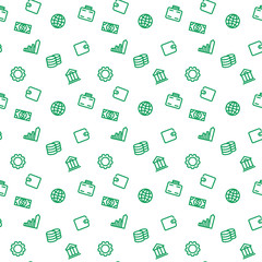 seamless pattern with finance icons, green on white, vector illustration